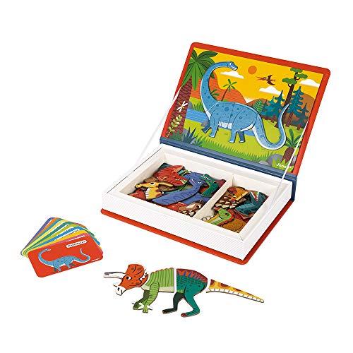 Janod - Magneti'Book Dinosaures - Jeu Educatif Magnétique 50 Pièces - Apprentissage Motricité Fine et Imagination - Certifié FSC® - Dès 3 Ans, J02590