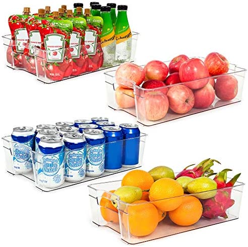 Refrigerator Organizer Bins Vtopmart 4 Pack Large Clear Plastic Food Storage Bin with Handle product image