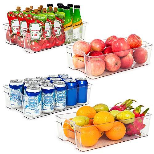 Refrigerator Organizer Bins Vtopmart 4 Pack Large Clear Plastic Food Storage Bin with Handle for Freezer Cabinet Fridge Kitchen Pantry Organization and Storage BPA Free 145 Long