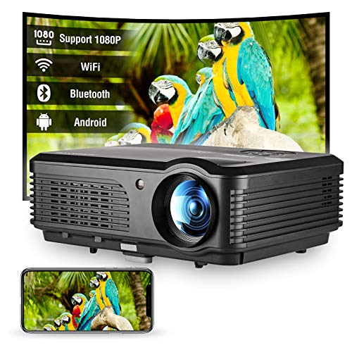 WiFi Bluetooth Projector 4600 Lux Support HD 1920x1080P Projector, Support Zoom, Wireless Mirroring, Compatible with Smartphone, HDMI, USB, DVD Player, PS4, TV Stick for Home Theater Outdoor Movies