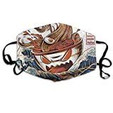 Cool Japan Japanese The Great Ramen Off Kanagawa Dust-Proof Facial Protections for Skiing/Cycling/Outdoor Adjustable Ear Loops