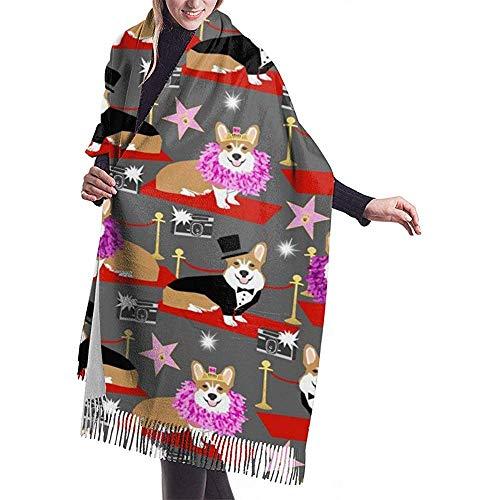 Elaine-Shop Corgi Fashion Show Roter Teppich Hundemuster Mode Schal Schal Kaschmir Winter Schal Für Frauen Männer