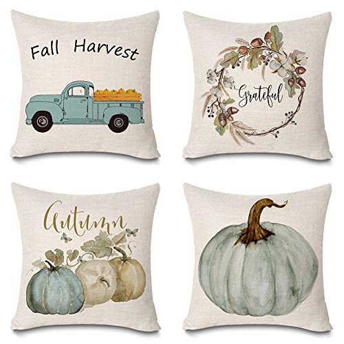 Faromily Autumn Watercolor Pumpkin Pillow Covers Fall Harvest Truck Flowers Wreath Farmhouse Decorative Cushion Covers Cotton Linen Thanksgiving Throw Pillow Cases 18 x 18 inch Set of 4