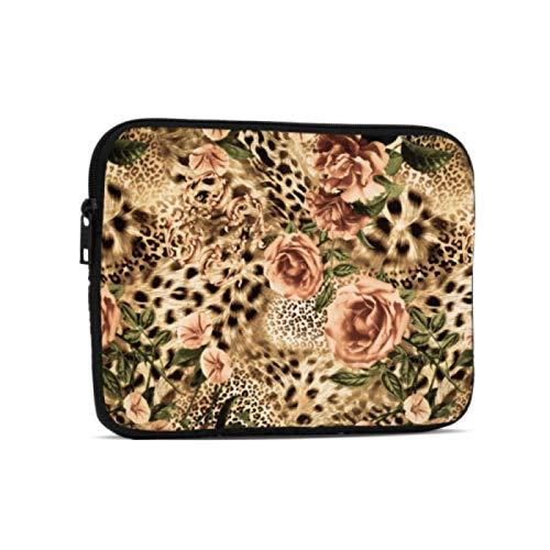 iPad Bag Animal Tiger Leopard Print Flower Rose Funda para Tableta Compatible con iPad 7.9/9.7 Inch Bolsa Protectora de Neopreno a Prueba de Golpes con Cremallera y asa con Correa