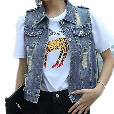 Fesky Womens Blue Denim Vest Jean Waistcoat Vest Distressed Jacket for Women Girls Sleeveless