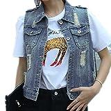 Womens Blue Denim Vest Jean Waistcoat Vest Distressed Jacket for Women Girls Sleeveless