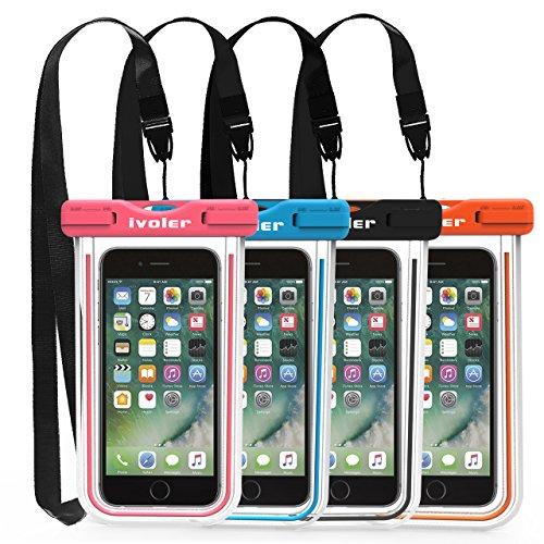 iVoler wasserdichte Handyhülle Tasche 4 Stücke, Handytasche Wasserdicht, Handy Wasserfest Hülle, Staubdichte Schutzhülle für iPhone, Android, usw bis zu 6.5 Zoll. (Schwarz+Blau+Rosa+Orange)