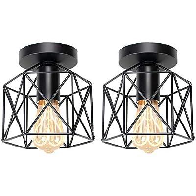 Hedume 2 Pack Semi-Flush Mount Ceiling Light, Retro Black Industrial Ceiling Light - Black Painting Metal Pendant Light Fixture for Hallway Stairway Bedroom Kitchen (E27)