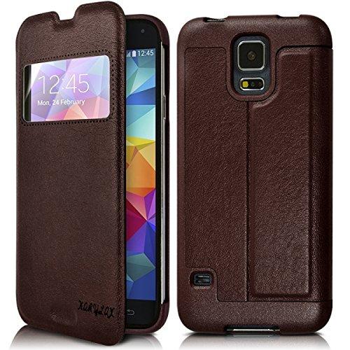 Seluxion - Funda rígida con tapa para Samsung Galaxy S5 (incluye protector de pantalla), color marrón
