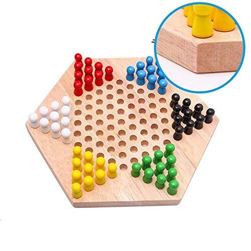 Checkers Hexagonal Houten Family Game Chinese traditionele spel Checkers Board Games aijia ( Color : True Color , Size : 23.5x20.5x4cm )