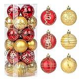 Zogin adornos de adornos navideños, paquete de 24 piezas, adornos comerciales para árboles de navidad inastillables, bola colgante para decoración navideña, bolsa de regalo, 6