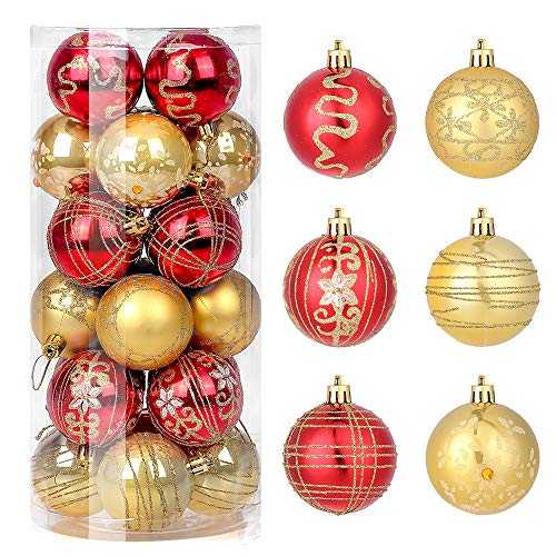 Zogin Ornamenti con Palline di Natale Confezione da 24 Pezzi, Infrangibili,Decorazioni per Alberi di Natale Pallina da Appendere per Festa Decorazione per Feste di Matrimonio 6CM(Rosso e Oro)