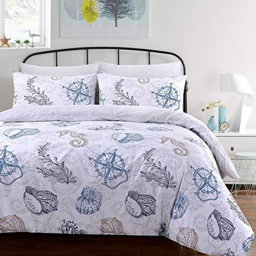 Nimsay Home Bettbezug-Set Seafarer, 100 % Baumwolle, 100 % Baumwolle, mehrfarbig, Doppelbett