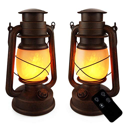 LED Vintage Lantern Battery Operated Flickering Flame Outdoor Hanging Lantern with Remote and Two...