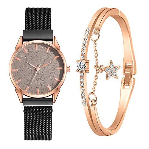 SANDA Relojes Mujer,Conjunto de Reloj, Pulsera y Caja de Lujo Moda Reloj de Pulsera Informal de Belleza Europea pequeño y Delicado-C