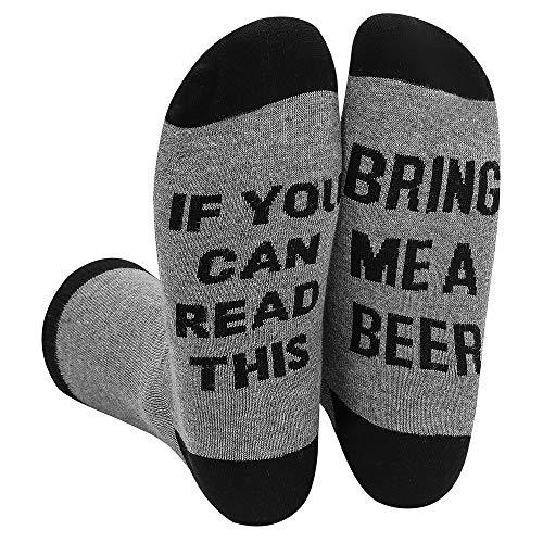 "Himozoo Unisex Cotton Socks ""IF YOU CAN READ THIS BRING ME A BEER"" Socken lesen können(Grau)"