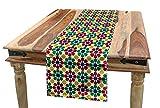 ABAKUHAUS Vistoso Camino de Mesa, Estrella marroquí Zellige, Decorativo para el Comedor o Sala de Estar Fácil de Limpiar, 40 x 180 cm, Multicolor