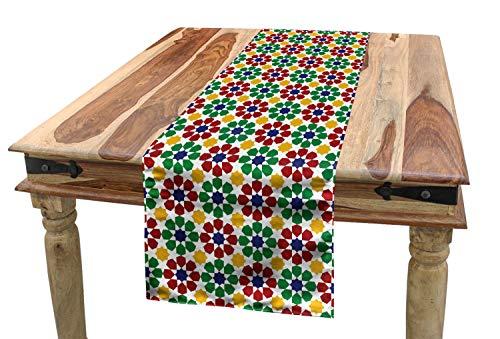 ABAKUHAUS Vistoso Camino de Mesa, Estrella Marroquí Zellige, Rectangular para la Cocina Estampado Lavable No Destiñe, 40 x 300 cm, Multicolor