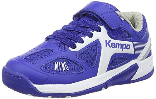FanSport24 Kempa Fly High Wing Kinder Handballschuhe mit Klettverschluss blau weiß Größe 30