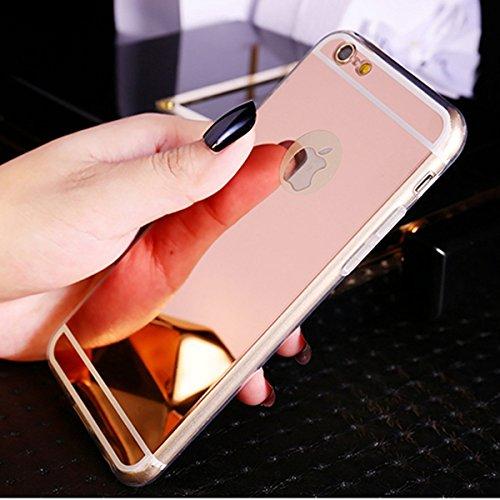 Funda iPhone SE,Funda iPhone 5S,Funda iPhone 5,Cristal brillante Brillo cristalino Enchapado Espejo Flexible TPU Silicona Fundas Skin Cover Carcasa Silicona Funda Case para iPhone SE/5S/5,Oro rosa
