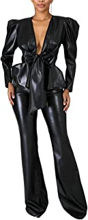 Aro Lora Women's PU Faux Leather Belted Ruffle Open Front Blazer and Bell Bottom Pant Set 2 Piece Outfit