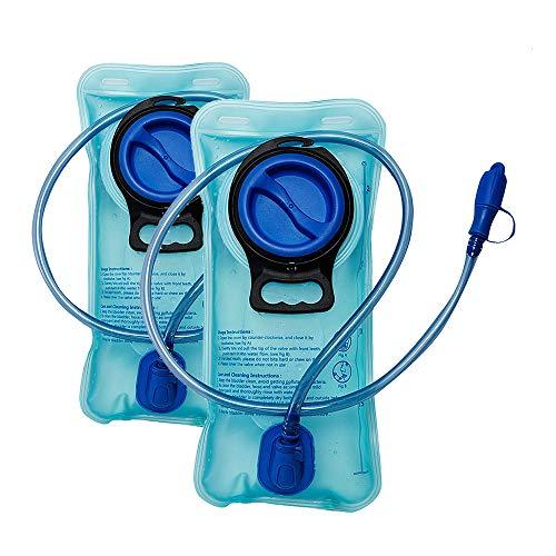 Paquete de 2 vejigas de hidratación de 2 litros Bolsas de repuesto grandes para depósitos de agua a prueba de fugas sin BPA Apertura amplia para senderismo, correr, mochilero, ciclismo de montaña