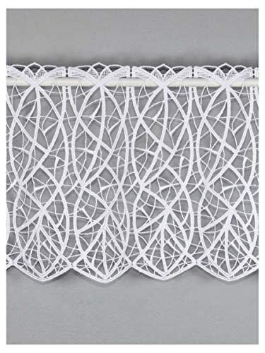 atelier alles-Spitze Moderne Spitzen-Scheibengardine CLOÉ aus Echter Plauener Luftspitzen-Stickerei Feenhausgardine in weiß