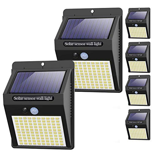 Hepside Luz Solar Exterior,【6 Pack / 3 Modos】Luces LED Solares para Exteriores, Focos LED Exterior Solares, Luces de Seguridad Inalámbricas a Prueba de Agua Luces Solares Led Exterior Jardin Garaje