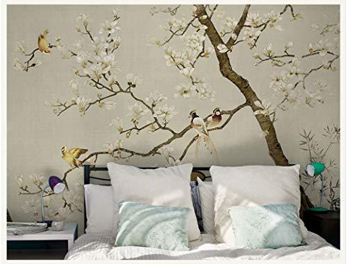WH-PORP Benutzerdefinierte 3D-Tapete Chinesische Art Mural Blume Bäume Vögel American 3D Wall Fototapeten Tapete Hintergrund Große Wandbild 3D Wall-250Cmx175Cm