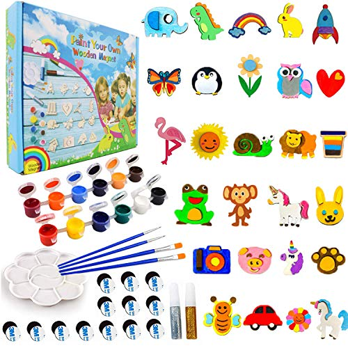 CHOKMAX Paint Your Own Wooden Magnet, 30pcs Fridge Wood Magnets Craft and Art Painting Supplies for Kids Best DIY Creativity Gifts Party Favors for Boys and Girls Age 4-8