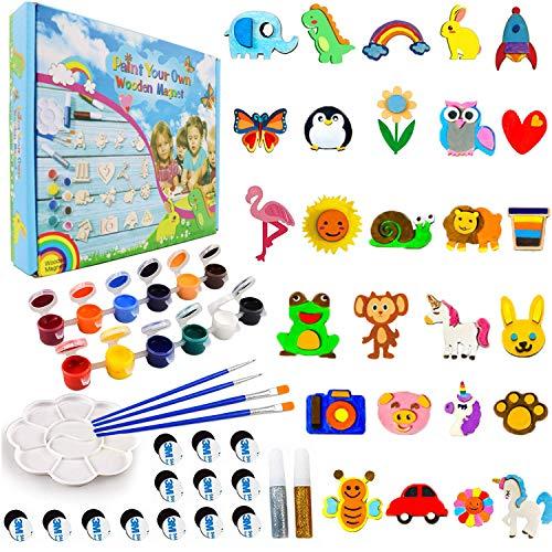 CHOKMAX 30 Piezas de imanes de Madera para Nevera, Suministros para niños, los Mejores Regalos de Creatividad de Bricolaje, Regalos de Fiesta para niños y niñas de 4 a 8 años