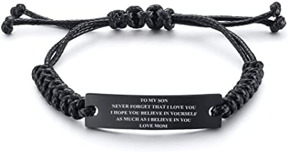 MEALGUET Stainless Steel Handmade Black Adjustable Cord Inspirational Courage Quote to My Son Bracelets to Boys,Birthday Graduation Gift, Idea to Son