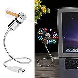 ASHATA Ventilador LED, Ventilador USB Flexible programable, Ventilador USB Mini Cuello de Cisne, Ventilador USB RGB portátil con LED Colorido para computadora portátil