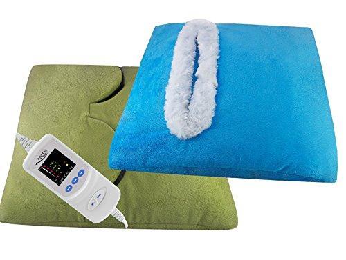 rilievo di riscaldamento 2in1 e scaldapiedi con spegnimento automatico 1-8 ore timer 5 tappe lavabile buonista cuscino anche per indietro, collo e piede (verde)
