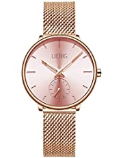 LIEBIG 腕時計 時計 クォーツムーブメント ウォッチ とけい スモールセコンド うで時計 防水 watch