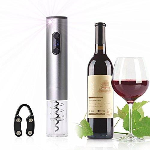 Qprods - Cavatappi Elettrico Ricaricabile. Bottle Opener con un foglio di cutter, batterie e caricabatterie. Colore Silver. 1 anno di garanzia