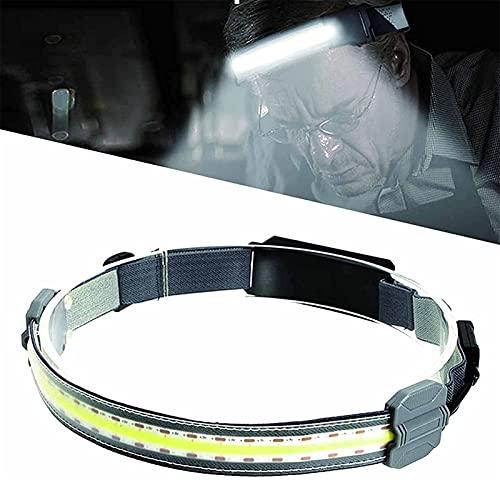 ZGHYBD Hi-Beam Work Light Headband, Broadbeam Led Headlamp with USB Charging Cable, 3 Light Modes and 210° Illumination Ultra-Low Profile Durable Elastic Headband for Outdoor Work Sport