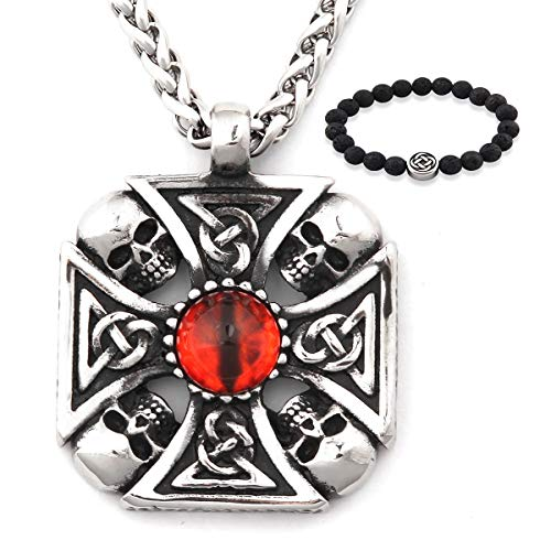 Gungneer Gothic Celtic Cross Necklace Pendant Stainless Steel Chain Protection Amulet Irish Knot Jewelry Men Women