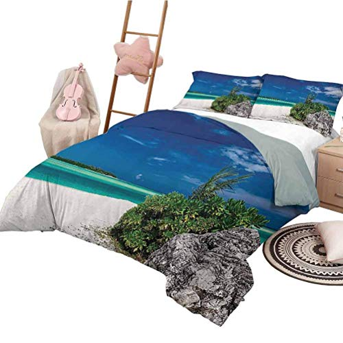 Seaside Decor Collection Bedding-Sets Duvet Cover Dreamy Crystal Clear Sea with a Rock on The White Sandy Beach Plants Holiday in Maldives Duvet Cover Set & Pillowcase Queen Size