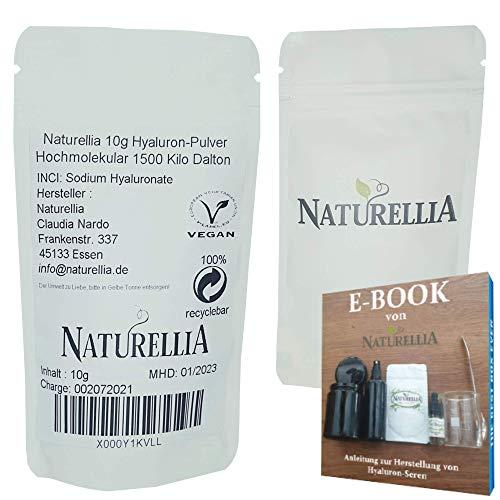 Naturellia 10 Gramm Hochmolekular Hyaluron-Säure Pulver hochdosiert 1500 Kilo Dalton Hyaluronic Acid Powder zur Herstellung einer Anti-Aging Face-Cream