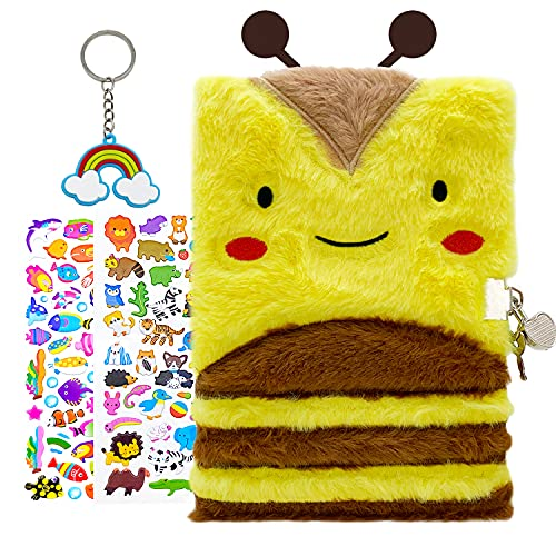 WINGFISH Yellow Bee Diary with lock and keys for Kid Girls Gift Cute Plush Notebook A5 Size Lined Secret Fuzzy Journal with 1 Rainbow Keychain + 2 Stickers