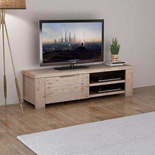Festnight Meuble TV Bois d'acacia Massif brossé 140 x 38 x 40 cm