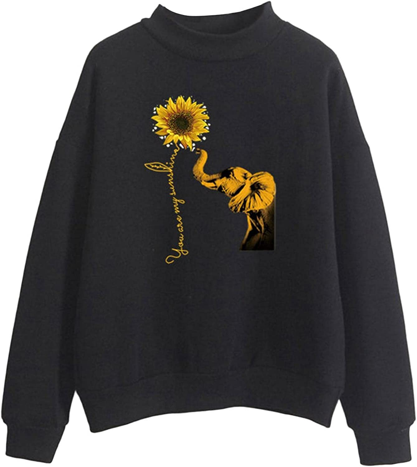 Toeava Sweatshirts for Women, Women's Autumn Casual Flower Print Turtleneck Tops Blouse Long Sleeve Loose Fit Pullover