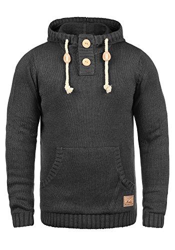 !Solid Pit Herren Strickpullover Kapuzenpullover Grobstrick Pullover mit Kapuze, Größe:S, Farbe:Dark Grey Melange (8288)