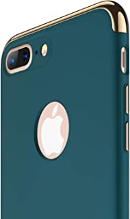 RANVOO iPhone 8 Plus Case, Slim Fit Thin Hard Stylish Cover 3 in 1 Detachable Case [Support Wireless Charging], Dark Green [Clip-ON Series]