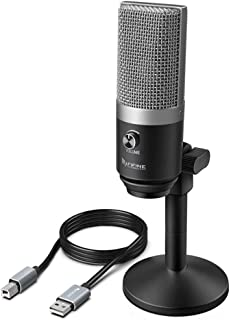 Fifine Technology USB Condenser Broadcast/Podcast Microphone w/Desk Stand Silver