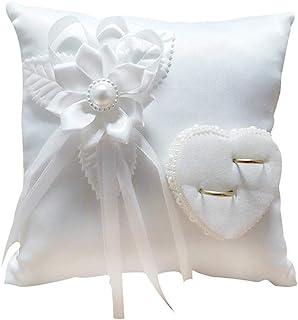 TARTIERY - Cojín de alianzas con anillo rústico – Suministros de boda, color blanco romántico Wedding rosa, anillo de caja rosa con corazón de Favors Wedding Ring Almohada 207 cm