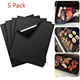 LANYHU 5Piece Non-stick BBQ Grill & Baking Mats-Perfect For Baking on Gas, Charcoal, Oven and Electric Grills - Reusable, Durable