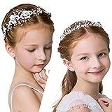 2 Pieces Cute Princess Wedding Headpiece Hair Pieces for Girls Wedding and Flower Girls Wedding