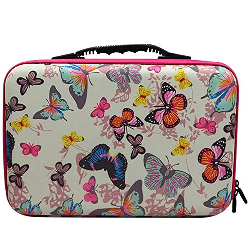 cherrypop 60 Bottles Diamond Painting Accessories Container Storage Bag Box Suitcase 5D Butterfly Embroidery Tool Handbag-Red